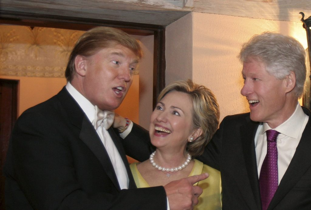 Candidates Trump and Clintons